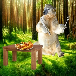 a bear with a knife and fork n his hand